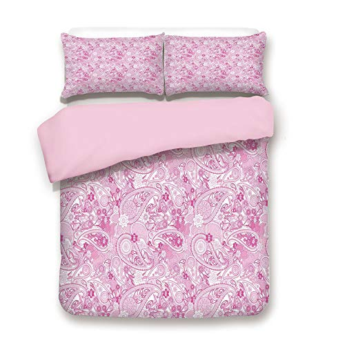 Pink Duvet Cover Set,King Size,Asian Models Inspired Design with Flowers and Leaf Circled Shapes Image,Decorative 3 Piece Bedding Set with 2 Pillow Sham,Best Gift For Girls Women,Pink and White
