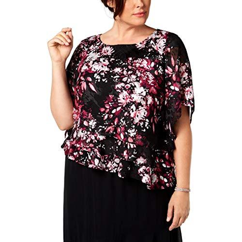 Alex Evenings Women's Plus Size Asymmetric Tiered Chiffon Blouse Shirt, Black/Pink, 2X ()