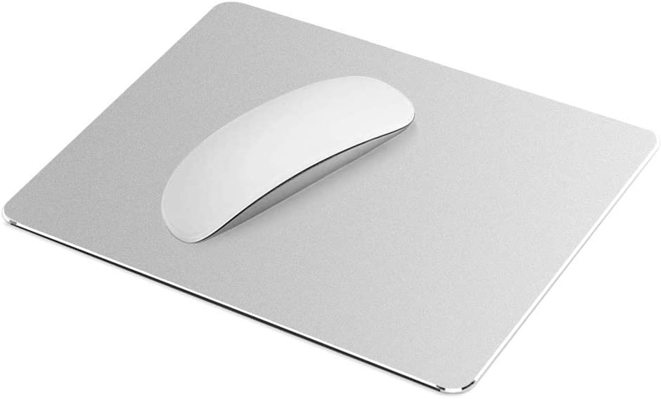 Silver Metal Mouse Pad-Office Gaming Hard Aluminum Mouse Mat, Dual-Use Waterproof Non-Slip Matte Metal/PU Mousepad for Laptop, Computer and PC Double Side Design by SubClap
