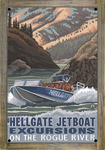 Hellgate Jet Boat Grants Pass Oregon Metal Print on Reclaimed Barn Wood by Paul A. Lanquist (12