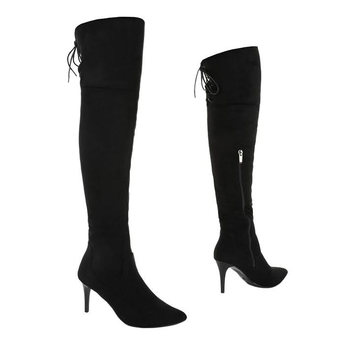 Ital-Design Overknee Stiefel Damen-Schuhe Klassischer Stiefel Pfennig-/Stilettoabsatz High Heels Reißverschluss Stiefel Schwarz, Gr 37, C43-