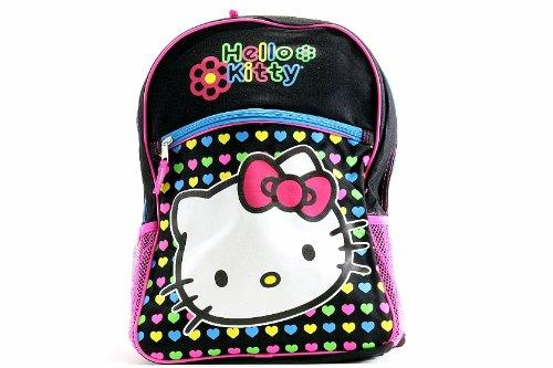 Hello Kitty Girl's Black/Rainbow Heart Backpack Bag by Hello Kitty ()