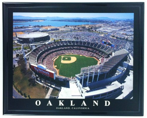 Framed Oakland Stadium Network Associates 2003 Aerial Wall Art Print F7577A