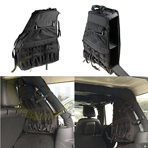 Wiipro 2PCS Set Two Side Cargo Multi Function Organizers Storage Pockets Bag Auto Saddlebag for 2007~2016 Jeep Wrangler JK 4-door Tool Kits Bottle Drink Phone Tissue Gadget Holder