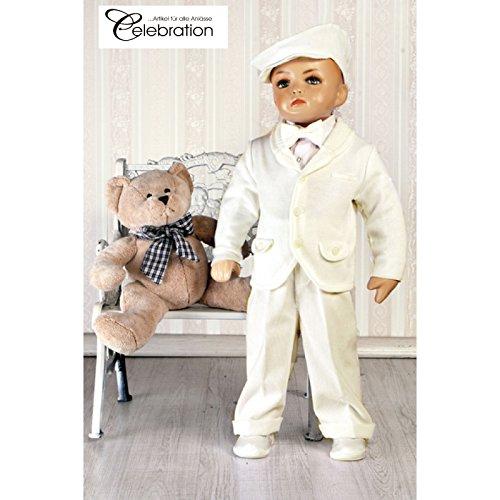 Baby Set 5-teilig Taufanzug ivory creme festlicher Anzug für Jungen Hemd Hose Pullover Modell 4839-i (68)