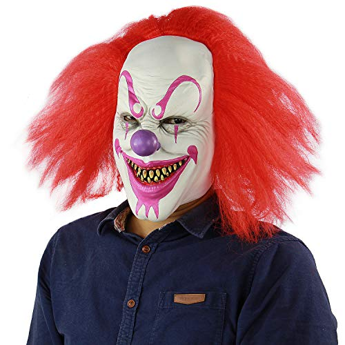 Scary and Sinister Halloween Clown Masks, Costume Cosplay Props, Adult Latex Clown Masks,Horror,Devil -