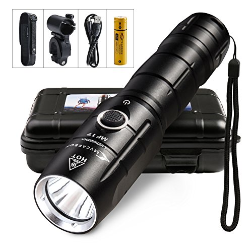 Rechargeable Flashlight MYCARBON Cree XM-L2 Led Flashlights IPX6 Professional Torch Light 800 Lumen Ultra-Bright with 5 Modes Small flashlights 18650 Battery Bike Lights for Cycling Camping Hiking