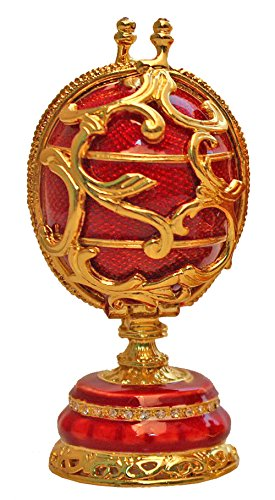 znewlook Faberge-Style Collectible Enameled Egg Gift (Red)