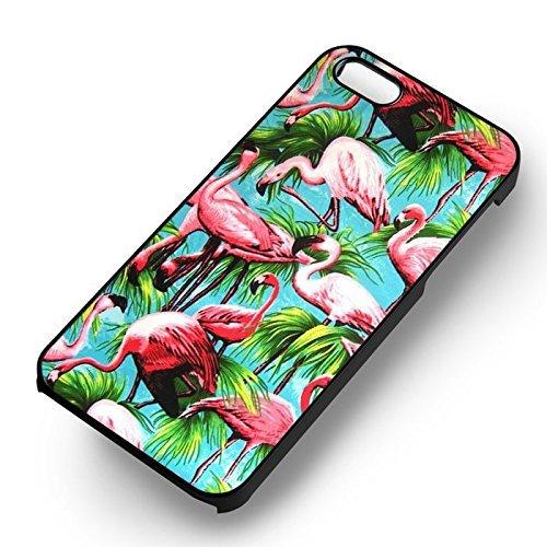 Chic Pink Flamingo Hawaii pour Coque Iphone 7 Case (Noir Boîtier en plastique dur) M1H2SX
