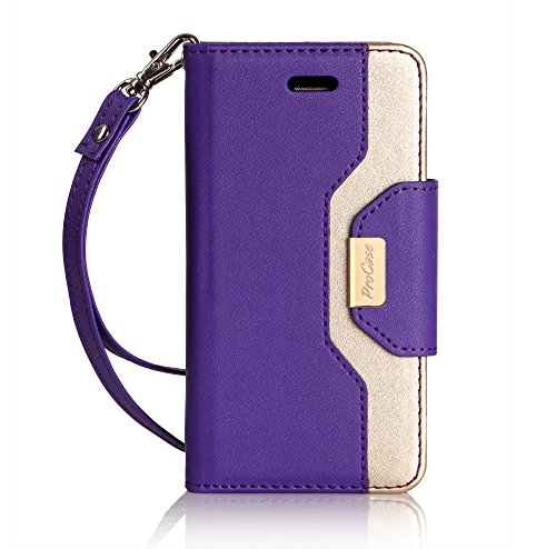 iPhone SE / 5S Case Cover, ProCase Wallet Flip Case, with Wristlet Strap, Build-in Card Slots and Mirror, Stylish Slim Stand Cover for Apple iPhone SE / 5S (Purple) (Flex Cable Flip)