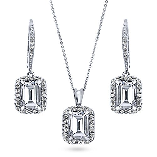 (BERRICLE Rhodium Plated Sterling Silver Emerald Cut Cubic Zirconia CZ Halo Necklace and Earrings)