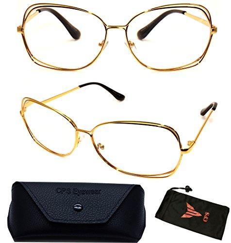 (#VRC02-Gld) Vintage Classic Oversized Large Metal Gold Silver Women Fashion Designer Reading Glasses + Hard Case (Strength: - Discount Glasses Reading Designer