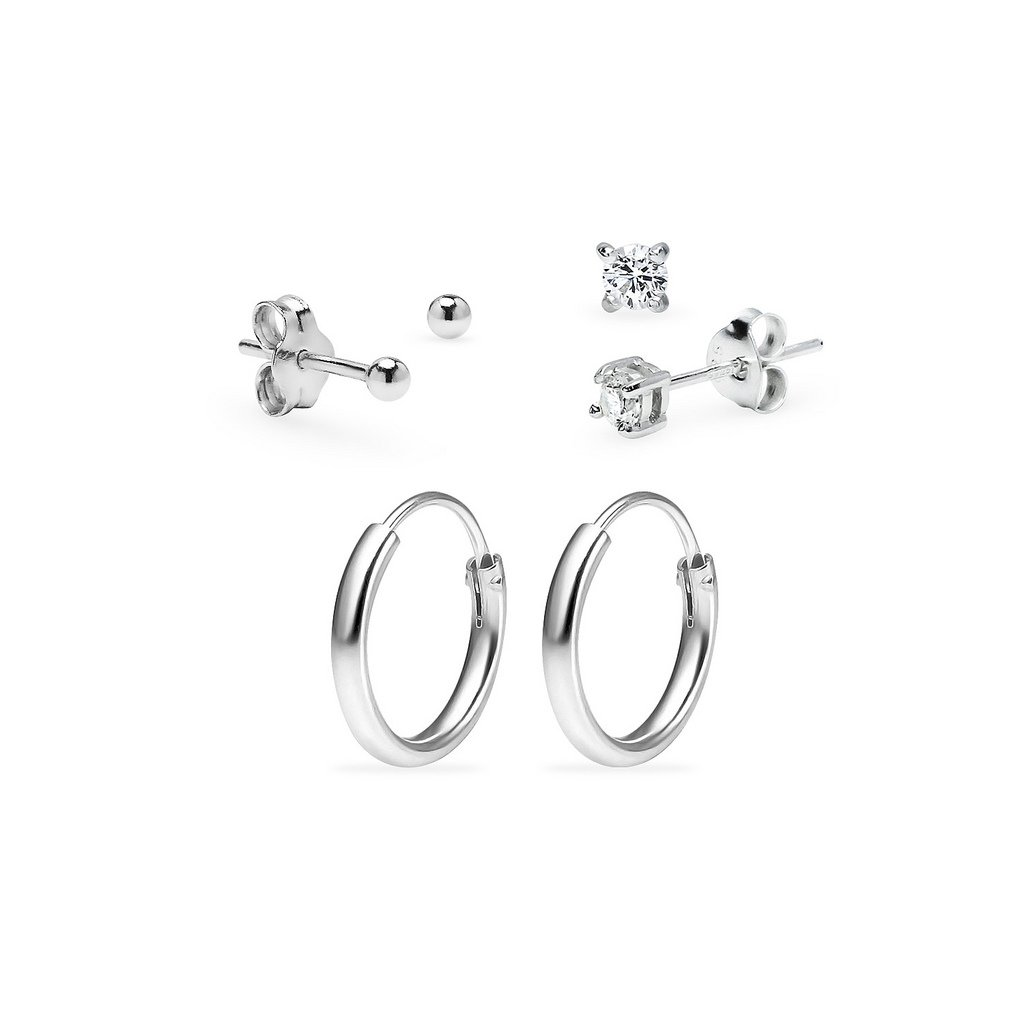 Three Pairs Sterling Silver 10mm Endless Hoops 3mm Round CZ & 2mm Ball Stud Unisex Cartilage Earrings Set