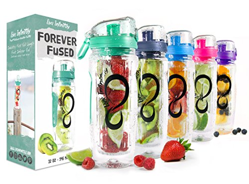 (Live Infinitely 32 oz. Infuser Water Bottles - Featuring a Full Length Infusion Rod, Flip Top Lid, Dual Hand Grips & Recipe Ebook Gift (Mint, 32 oz))