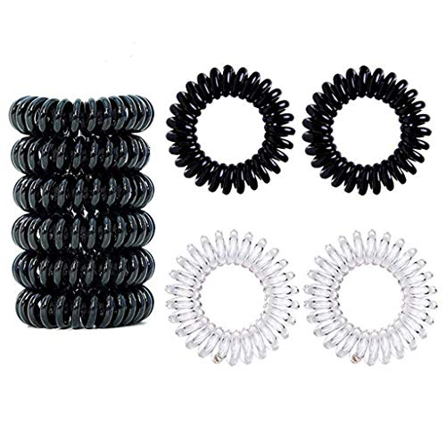 Riverdalin Spiral Elastic Hair Ties Plastic Traceless Hair Ring Bands Coil Rope Rubber Cord Ponytail Holders Stretchy Hair Coil (6 Black+6 White)