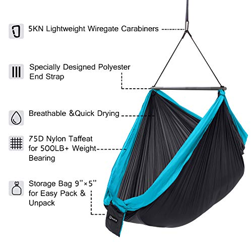 CHILLOUT POD Travel Hammock Chair, Lightweight Hanging Chair, Ultra Compact and Portable, One Minute Setup, Multiple Seating Positions, Foldable One-Piece System Dark Grey Light Blue