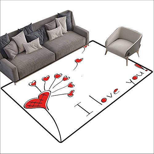 Non-Slip Carpet Love Dandelion with Heart Shapes Valentine Inspired Romantic Affection Abstract Nature Quick and Easy to Clean W5' x L7'10 Red Black White]()