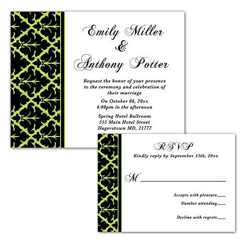 (100 Wedding Invitations Green Black Design + Envelopes + Response Cards Set)