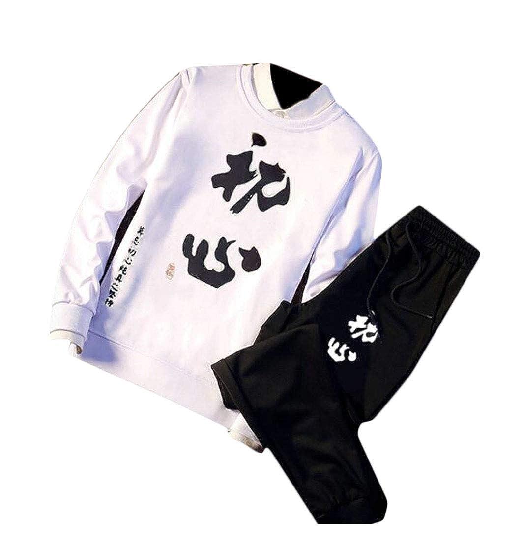 Spirio Men Stylish 2 Pieces Print Sweatshirt Pants Tracksuit Outfit Set