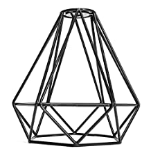 Vintage Metal Diamond Loft Pendant Ceiling Light Lamp Bulb Cage Decor - Black, 20x20cm