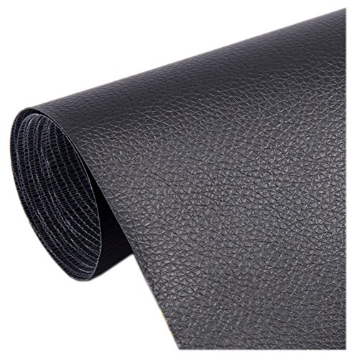 Ancefine Leather Repair Patch-Adhesive Backing-First Aid for Sofa,Car Seat,One Yard (Black)