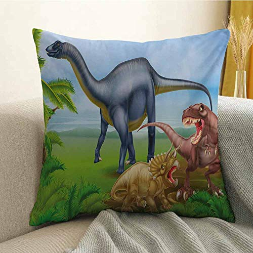 FreeKite Dinosaur Printed Custom Pillowcase Different Types of Dinosaurs Natural Jungle Environment T-Rex Triceratops Cartoon Decorative Sofa Hug Pillowcase W20 x L20 Inch -