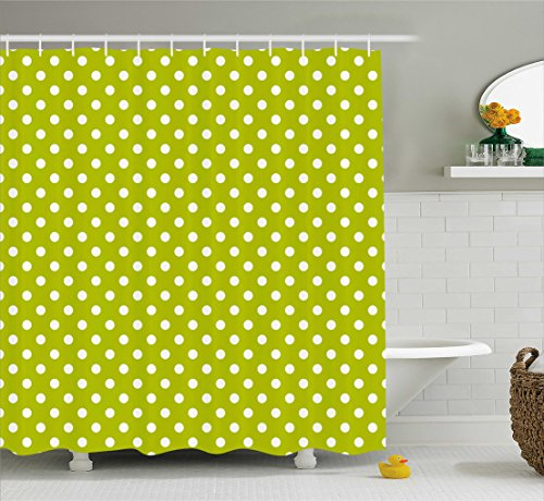 Ambesonne Retro Shower Curtain, Vintage Old Fashioned 60s 70s Inspired Polka Dots Pop Art Style Art Print, Fabric Bathroom Decor Set with Hooks, 75 Inches Long, Lime Green and White - Lime Dot Fabric