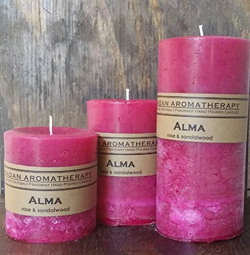(Badan Alma Floral Rose and Sandalwood Scented Pillar Candle, 3 Piece Set)
