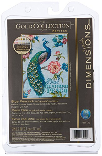 Peacock Cross Stitch - Dimensions 18 Count Gold Petite Blue Peacock Counted Cross Stitch Kit, 5