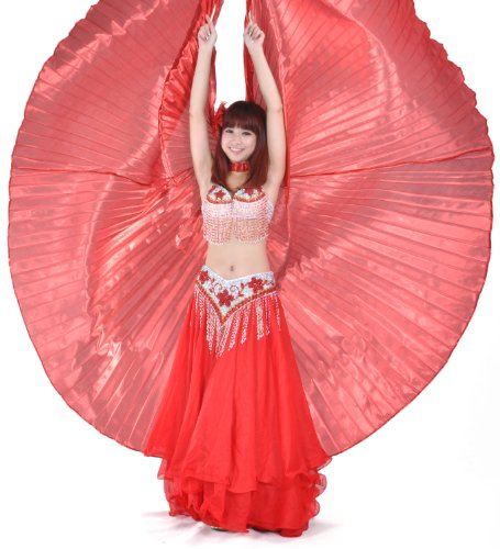 [BellyLady Belly Dance Costume Isis Wings With Sticks, Egyptian 360 Degrees Wing RED] (Dance Hire Costumes)