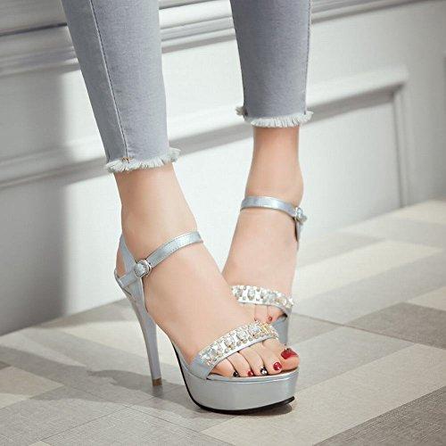 Sandali Fibbia Mee Shoes Tacco Con Alto Strass Stiletto Donna Chic Argento xzxFOp