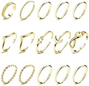 Thunaraz 15Pcs Knuckle Rings for Women Copper Boho Stackable Rings V-Shaped Infinity Star Moon Ring Set Twist