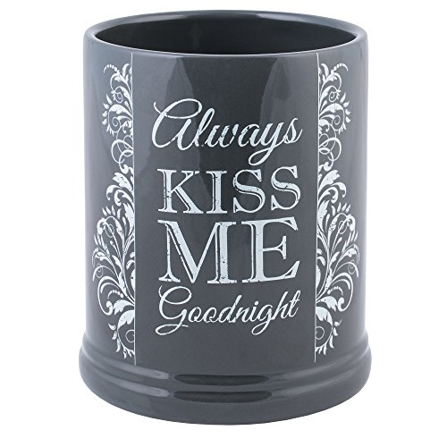 (Elanze Designs Always Kiss Me Goodnight Charcoal Grey Stoneware Electric Jar Candle)