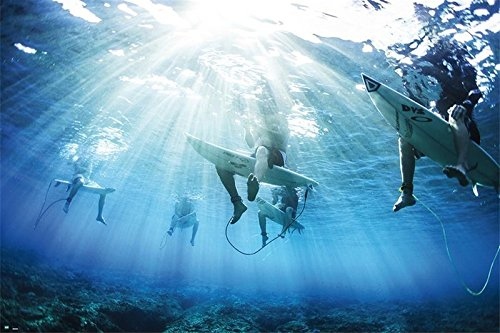 Surfers - Inspirational Poster/Print (Underwater Shot of Surfers) (Size: 36 inches x 24 inches)