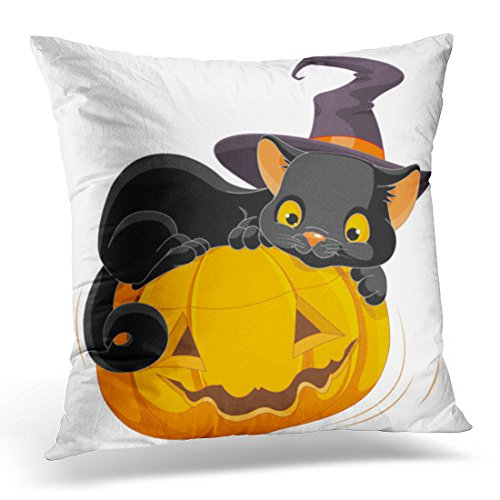 Golee Throw Pillow Cover Black Cat of Halloween Kitten Are Lying Happily on Pumpkin Animal Autumn Decorative Pillow Case Home Decor Square 20x20 Inches Pillowcase