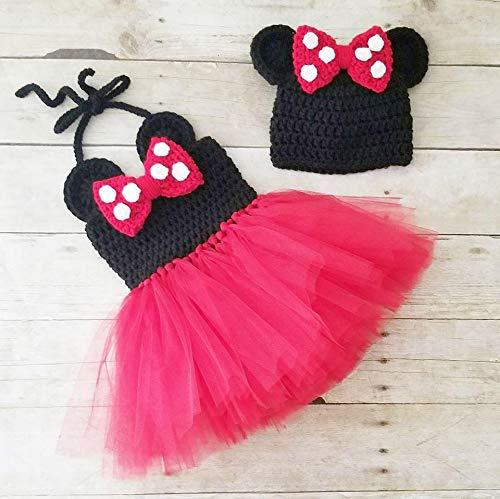 Amazoncom Crochet Baby Minnie Mouse Tutu Dress Set Bow Beanie Hat