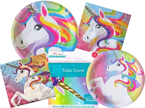 Rainbow Unicorn Ultimate Birthday Party Supplies Bundle for 20 Guests