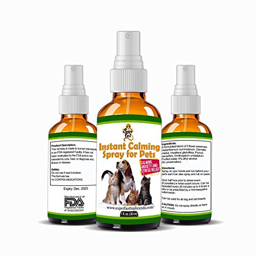 Instant Calming Spray for Pets Helps with Separation Anxiety, Fear of Thunder & Aggressive Behavior Natural Anti-Stress Formula for Dogs & Cats Easy to Use, Good for times of Stress or Trauma (Paw Rub Dog)