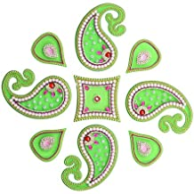 Diwali Neon Floor Rangoli Design with Studded Stones & Sequins Traditional Festive Home Decorations