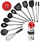 Kitchen Cooking Utensils Set Best 10 pcs Tools For Nonstick Cookware Silicone and Stainless Steel Serving Tong Spoon Spatula Pasta Server Ladle Whisk Skimmer