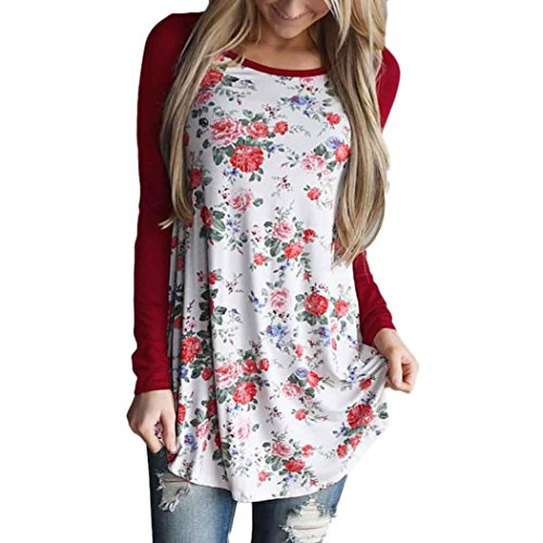 Perman Women Floral Striped Splicing O-Neck T-Shirt Blouse Long Sleeve Top (XL, Red)