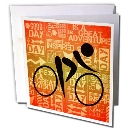 3dRose Bicycle Rider Silhouette Sunset Hues with Adventure Word Art - Greeting Cards, 6 x 6 inches, set of 6 (gc_173212_1)