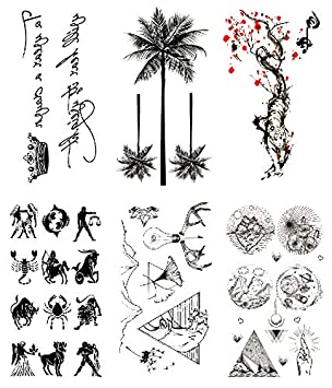 Oottati 6 Hojas Pequeño Lindo Tatuaje Temporal Tattoo Corona Poema ...
