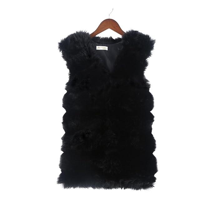 BESTOYARD Chaleco para mujer sin mangas Ropa abrigo chaqueta chaleco de piel sintéticas Tamaño libre (