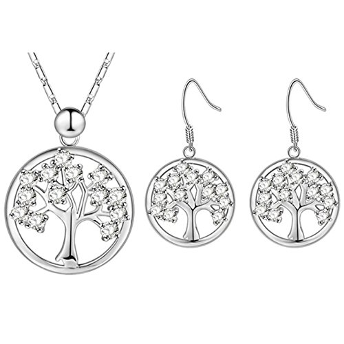 T-PERFECT LIFE Trendy Charm Gold-plated Tree of Life Christmas Tree Crystals Pendant Necklace Earrings 2 Set (silver) ()