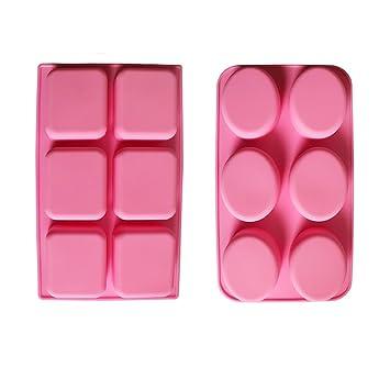 BAKER DEPOT 6 Holes molde de silicona oval y rectangular para la fabricación de jabón hecho a mano, juego de 2: Amazon.es: Hogar