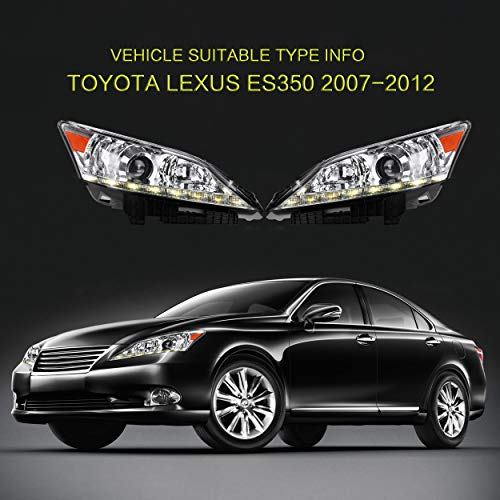 VLAND Headlight Assembly Compatible for Lexus ES350 2010-2011-2012 Head Lamp, Plug-and-Play