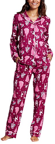 Women's 2 Piece 100% Cotton Pajama Set, Holiday Reindeers, Elegant Cherry (X-Small) (Reindeer Flannel)