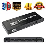 LinkStyle HDMI Splitter 1 in 4 out, 4K HDMI Switch Splitter 1X4 Ports Powered V1.4 Video Converter with Full Ultra HD 1080P and 3D Resolutions 1 Input to 4 Outputs