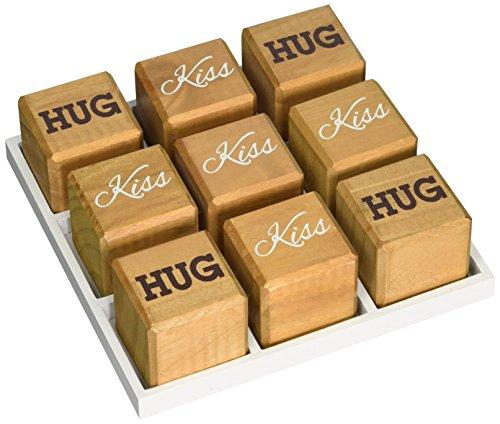 K&K Interiors Hug and Kiss Wood Tac Toe Board Star Motif (Hug And Kisses Tic Tac Toe)